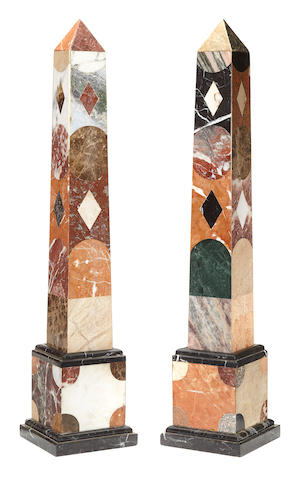 A pair of Neoclassical style pietra dura and marble tall obelisks