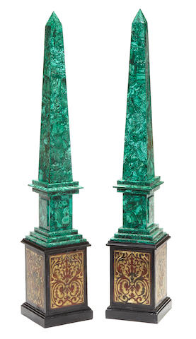 A pair of Napoleon III style malachite veneered obelisks