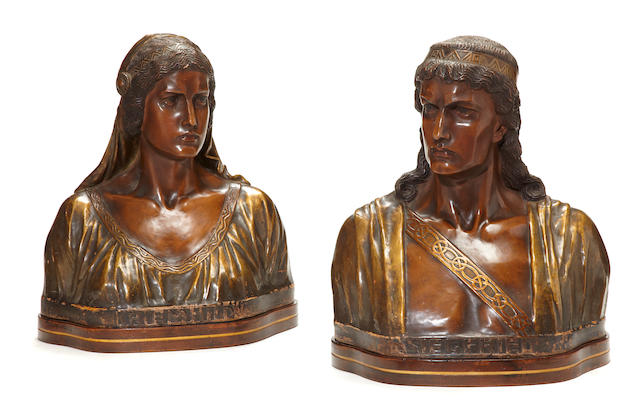 A pair of Austrian or German parcel gilt tinted terracotta busts of Siegfried and Chriemhilde   late 19th century