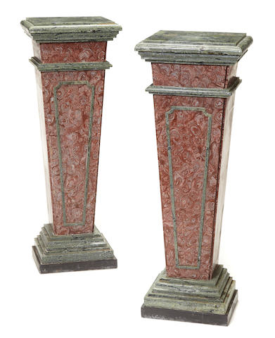 A pair of Neoclassical style variegated rose and green pedestals
