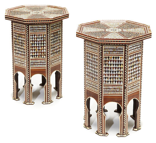 A pair of Levantine shell, bone and hardwood parquetry octagonal tables