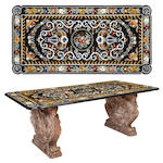 A superb and large Baroque style pietra dura and rouge veined marble table