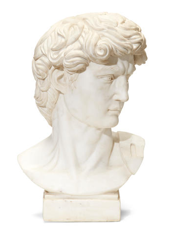 A white marble bust after Michelangelo's David