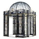 A Neoclassical style parcel gilt painted iron and metal garden gazebo