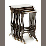 A group of four lacquered Chinese nesting tables