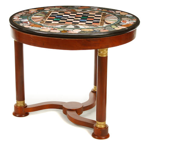 An Empire style gilt metal mounted mahogany and pietra dura table