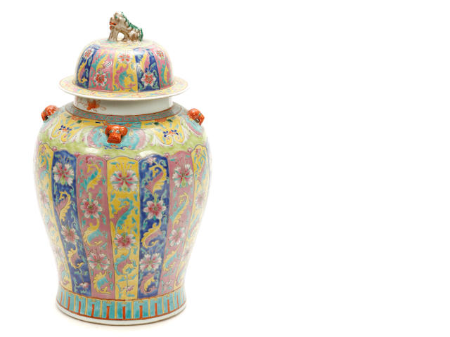 A large Chinese polychrome decorated covered vase