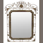 A pair of Rococo style wrought iron mirrors