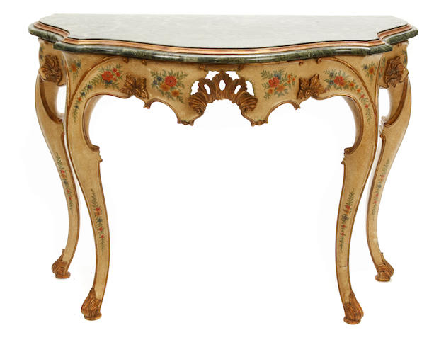 A pair of Venetian Rococo style paint decorated and marble console tables