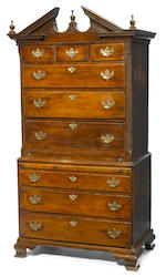 A George II oak secretary chest on chest mid 18th century