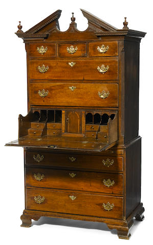 A George II oak secretary chest on chest <BR />mid 18th century