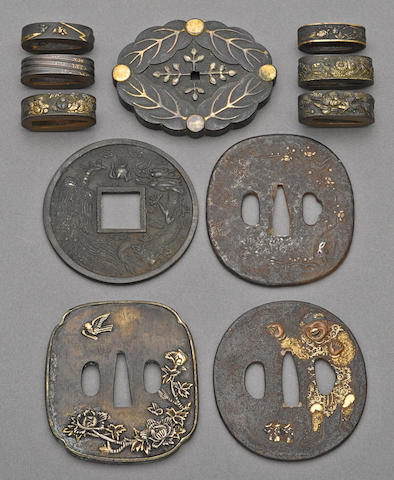 A group of iron and bronze sword fittings Edo period