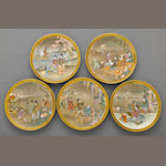 A set of five Satsuma style earthenware plates Kinkozan Studio, Meiji Period