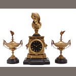 A French gilt bronze and slate clock garniture
