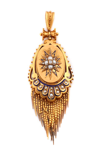 An enamel, cultured pearl, diamond and gold pendant