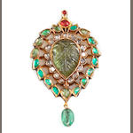 A gem-set, diamond, enamel, floral and leaf patterned pendant