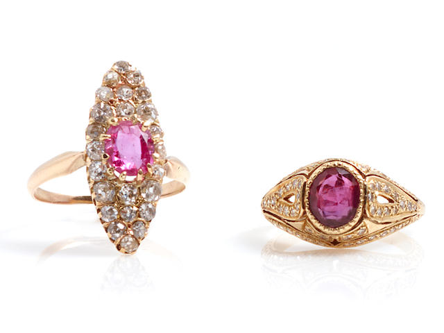 A group of two pink sapphire, ruby, diamond and gold rings
