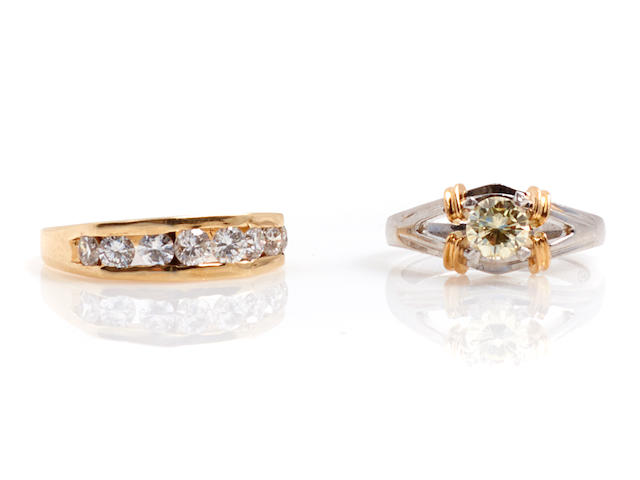 A group of two diamond, colored diamond, platinum and gold rings