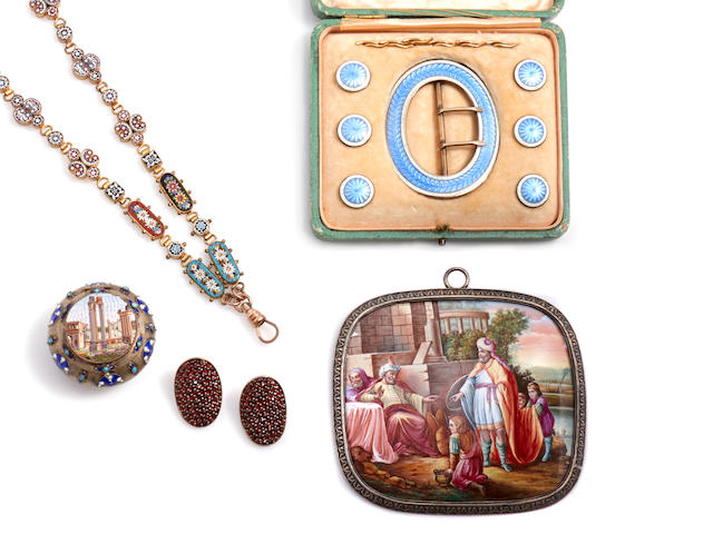 A collection of enamel, gem-set, silver and metal articles