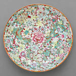 A large mille-fleur enameled porcelain charger Qianong mark, late Qing/Republic period