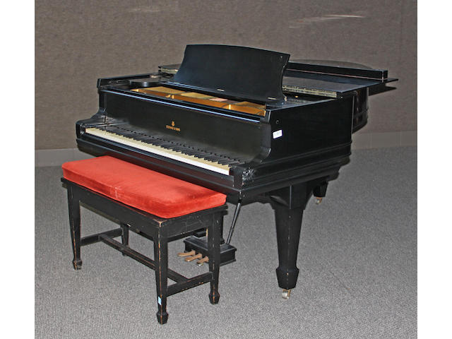 A Steinway & Sons Model M, ebonized grand piano<BR />first quarter 20th century