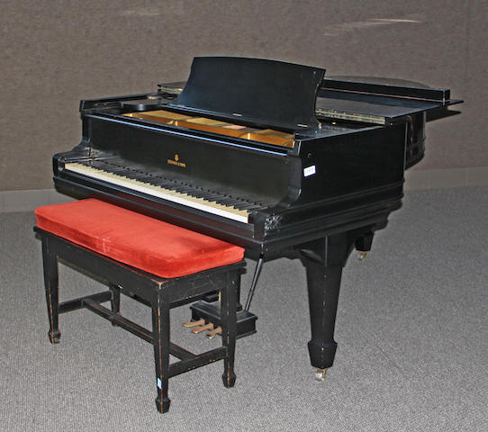 A Steinway & Sons Model M, ebonized grand piano<BR />first quarter 20th century