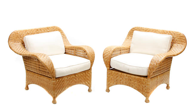 A set of six McGuire rattan armchairs