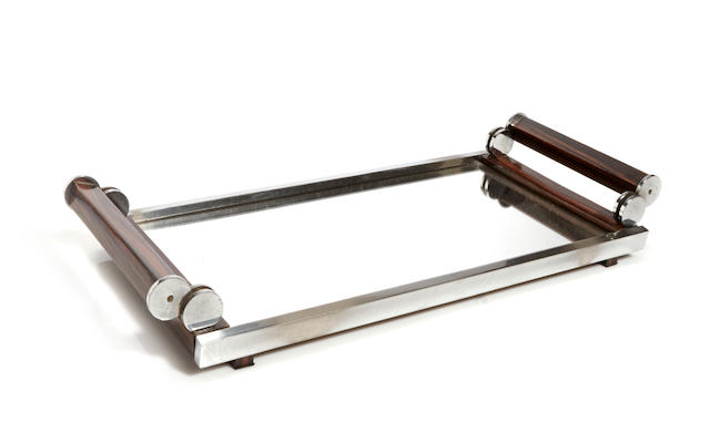 An Art Deco rosewood, chromed metal and mirrored serving tray