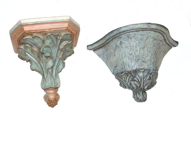 A Baroque style polychrome wood wall bracket and a Victorian polychrome molded plaster wall bracket
