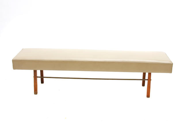 A Milo Baughman leather upholstered bench