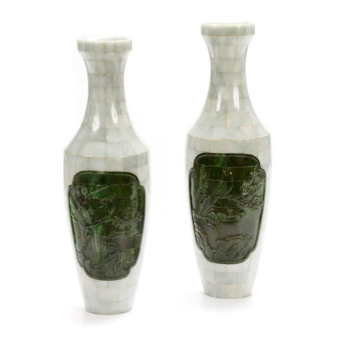A large pair of Chinese hardstone veneered vases