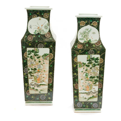 A large pair of Chinese famille verte vases