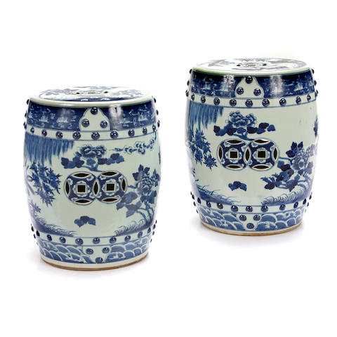 A pair of Chinese blue and white garden seats