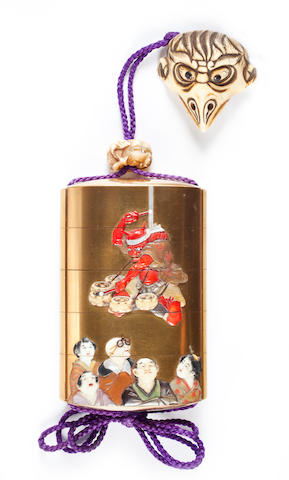 A four-case Shibayama lacquer inro By Teiun, Meiji period (late 19th century)