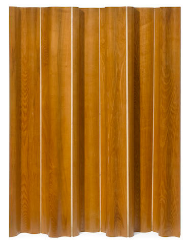 A Charles and Ray Eames for Herman Miller ash plywood and canvas FSW-6 folding screen designed circa 1946
