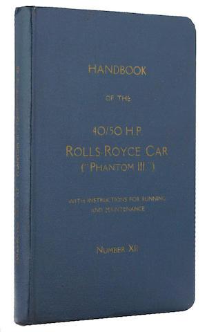 A Rolls-Royce Phantom III 40/50 hp handbook,