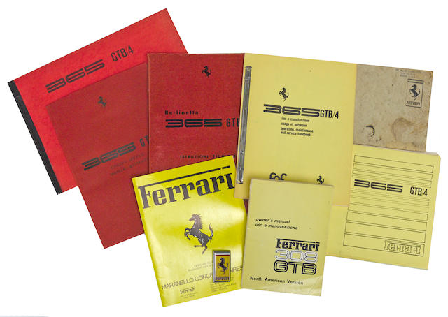 A grouping of Ferrari GTB/4 manuals and literature,