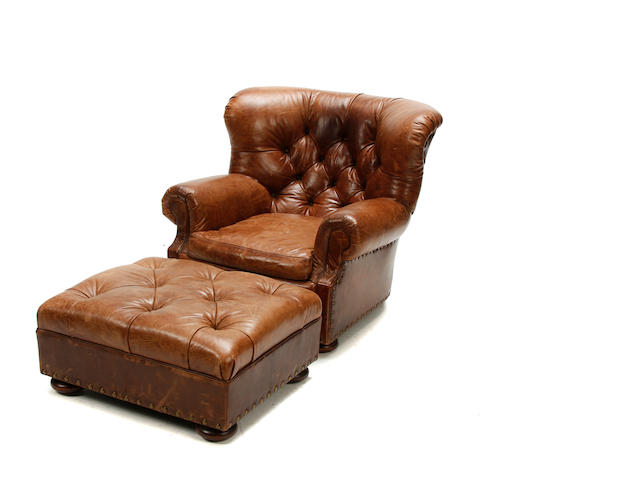 A Ralph Lauren tufted-leather armchair and ottoman