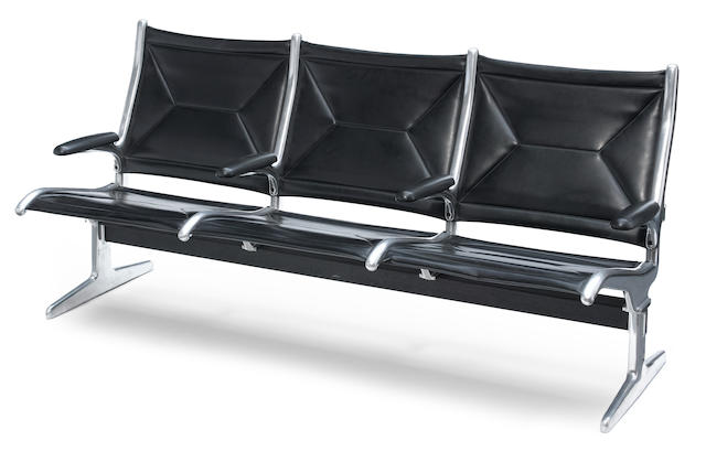An Eames leatherette and metal seating unit, designed for O'Hare Airport, circa 1960