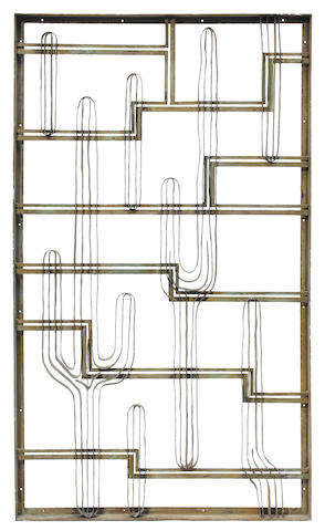 An American Art Deco patinated wrought iron cactus panel from the Cactus Lounge at Bullock's Wilshire, circa 1930 (redecorated)