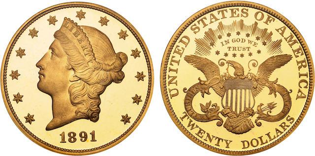 1891 $20 Ultra Cameo PF-68 NGC