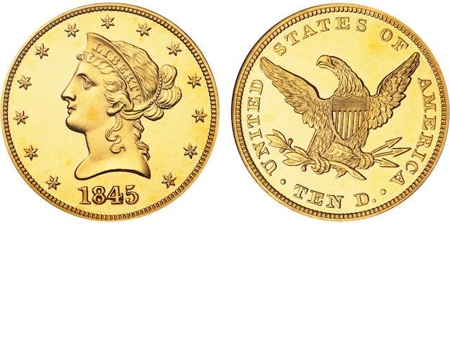 1845 $10 Cameo PF-65 NGC