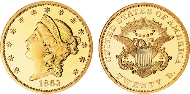 1863 $20 Cameo PF-65 NGC
