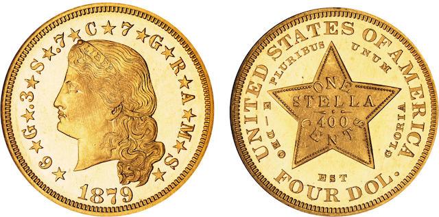 1879 $4 Stella Flowing Hair Cameo PF-67 NGC