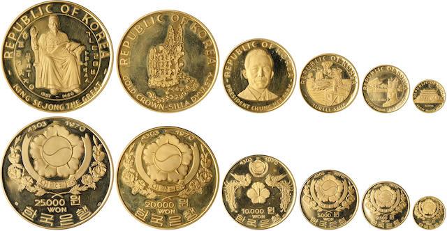 South Korea, 1970 Six Piece Gold Proof Set