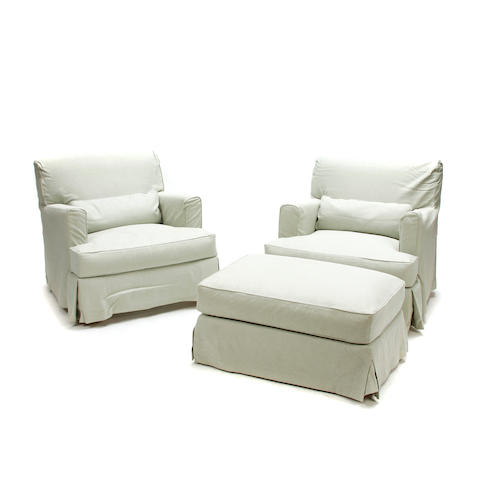 A pair of Holly Hunt fabric upholstered club chairs with ottoman