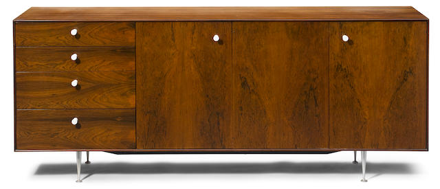 A George Nelson for Herman Miller rosewood, aluminum and porcelain Thin Edge credenza 1950s