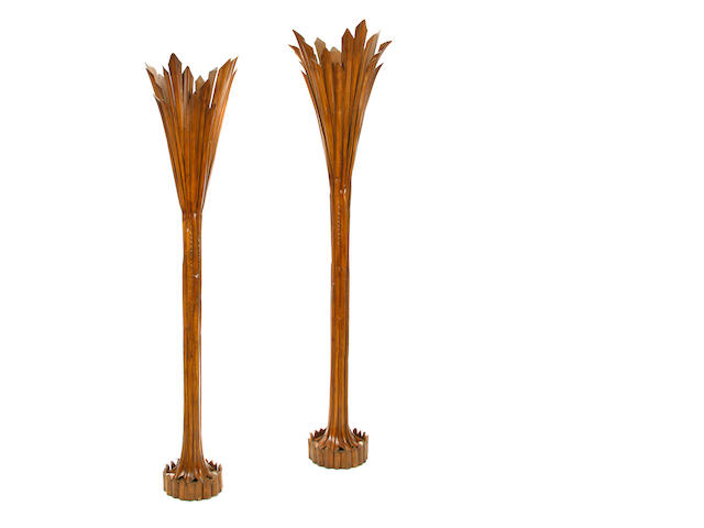 A pair of Blackman Cruz bamboo torcheres