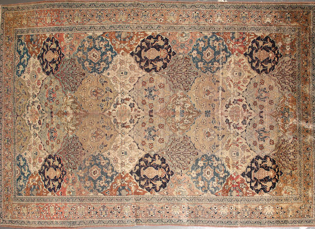 A silk Hereke rug  size approximately 6ft. 6in. x 9ft. 4in.