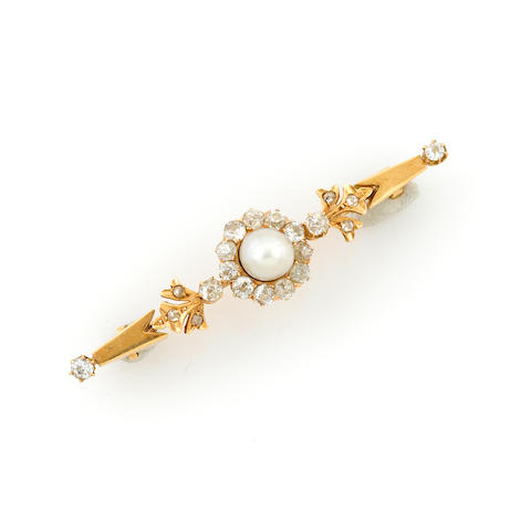 A cultured pearl, diamond and gold brooch